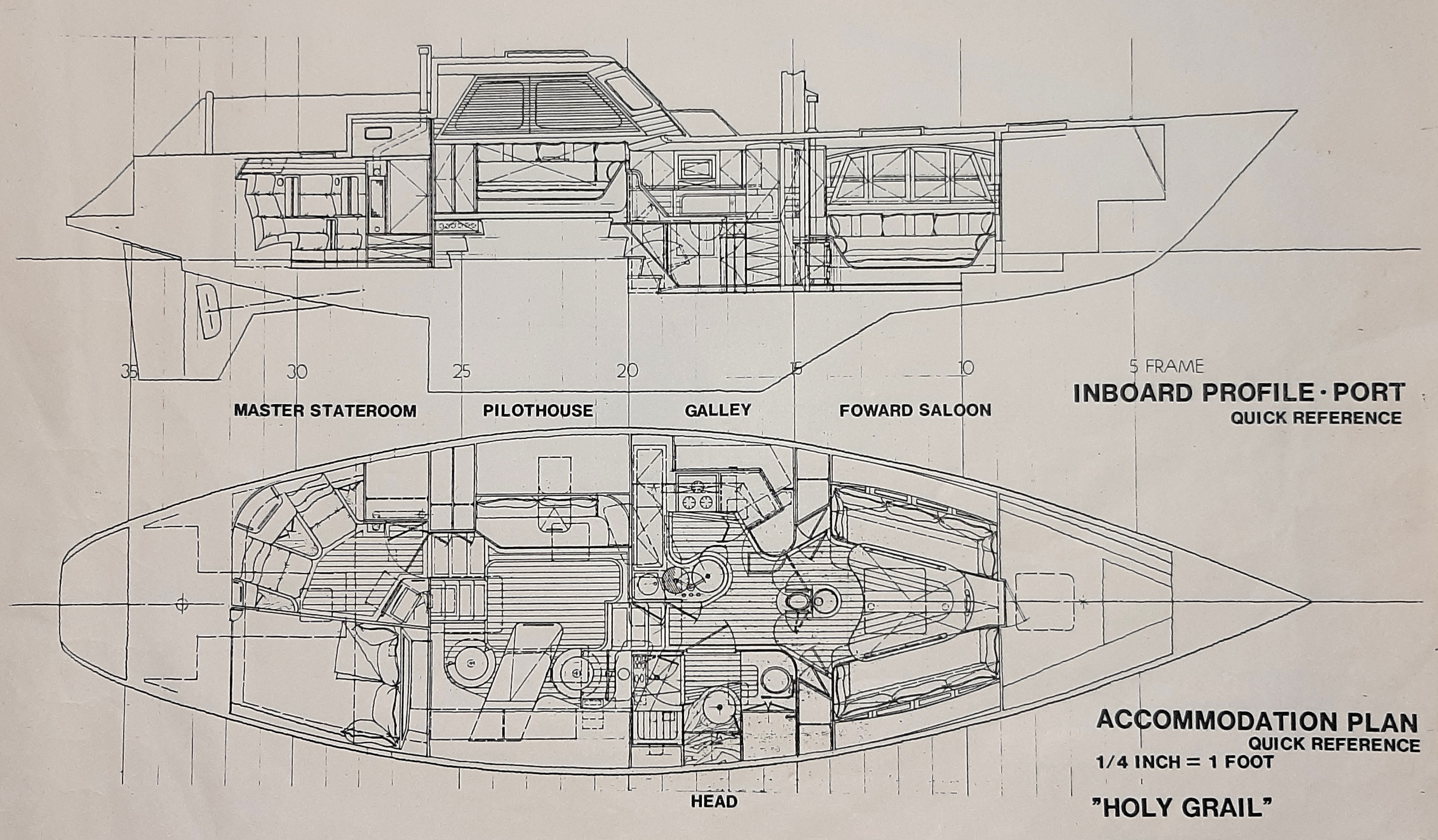 Holy Grail interior profile and plan views.